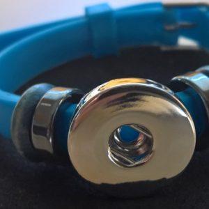 Blått Silikon Armband för Knappsmycke